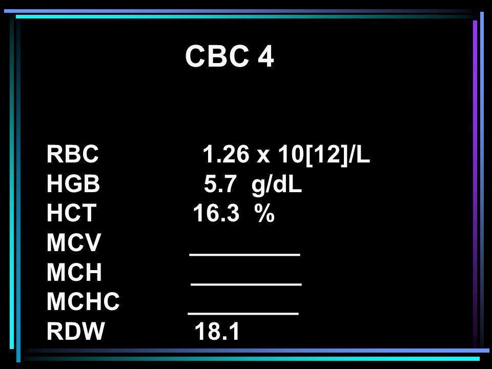 CBC 4 RBC 1.26 x 10[12]/L HGB 5.7 g/dL HCT 16.3 % MCV ________